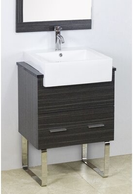 "American Imaginations 24"" Single Modern Bathroom Vanity Set Hardware Finish: Brushed Nickel, Faucet Mount: Single"