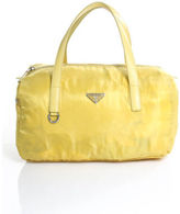 Prada Yellow Nylon Silver Tone Saffiano Leather Accent Satchel Handbag