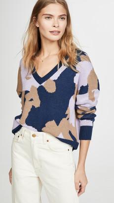 Nation Ltd. Bijou Jacquard Boxy Deep V Sweater