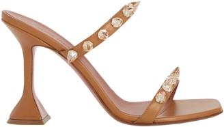 Amina Muaddi Julia Leather Spike Slide Sandals