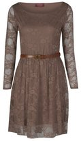 FashionMark New Womens Belted Long Sleeves Floral Lace Skater Dress