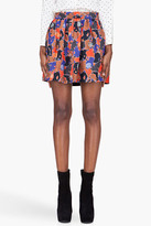 Marc by Marc Jacobs red silk Nata Camouflage skirt