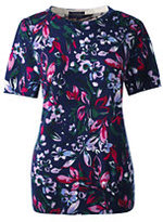 Classic Women's Tall Supima Short Sleeve Print Sweater-Ivory/Black Floral
