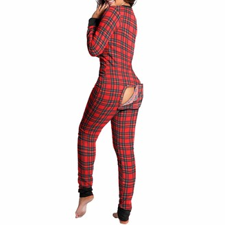 Lubhnna Women's Onesie Pajamas with Back Functional Buttoned Flap Solid Color Plaid Printed Pajamas Deep V Neck Sleepwear Pajamas Soft Warm Loungewear