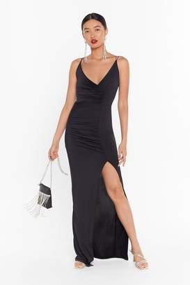 Nasty Gal Womens If Slit Ain't Broke Slinky Maxi Dress - black - 8
