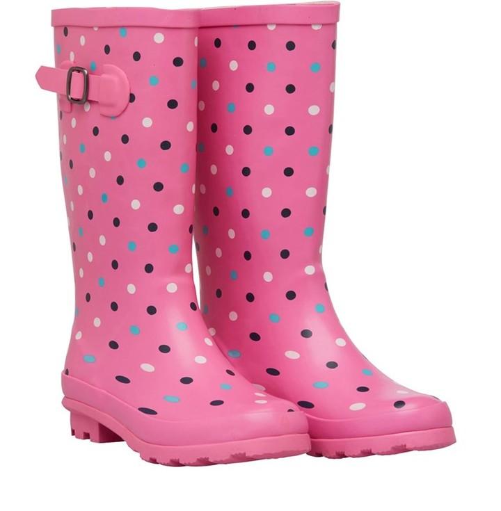 Board Angels Girls Spot Wellington Boots Pink/Multi