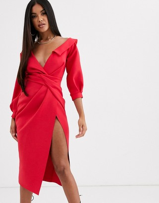 Asos Design DESIGN sexy shoulder knot front midi dress-Red
