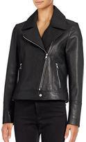 Karl Lagerfeld Paris Washed Leather Moto Jacket