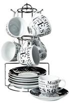 Gibson Expresso Expressions 13pc Stoneware Espresso Set Black/White