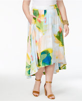 Melissa McCarthy Trendy Plus Size Printed High-Low Skirt