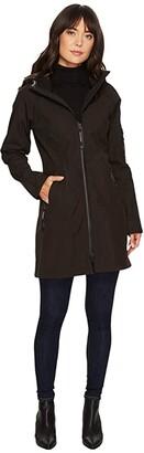 Ilse Jacobsen Soft Shell 3/4 Length Functional Rain Coat (Black) Women's Coat