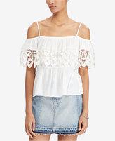 Denim & Supply Ralph Lauren Crochet-Trim Cold-Shoulder Top