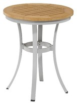 "Oxford Garden Travira 24"" Metal/Faux Wood Patio Round Café Bistro Table"