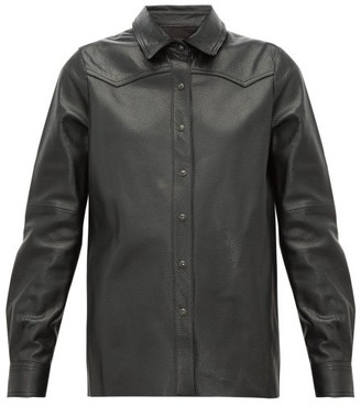 Nili Lotan Juline Snake-effect Leather Shirt - Black