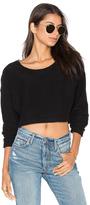 Bobi Reversed Terry Long Sleeve Crop Sweater
