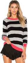 525 America Cut Out Rugby Stripe Sweater in Black