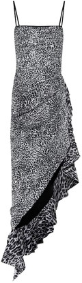 Rasario Asymmetric leopard-print crepe dress