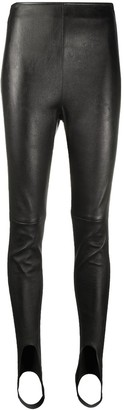 Saint Laurent High-Waisted Strap-Detail Leggings
