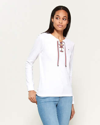 Tommy Hilfiger Lace-Up Long Sleeve Thermal Tee