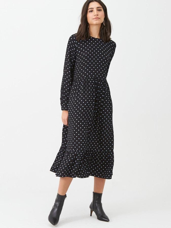 Warehouse Spot Print Tiered Midi Dress - Black
