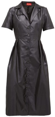 Art School - Cuban-collar Lame Midi Dress - Black