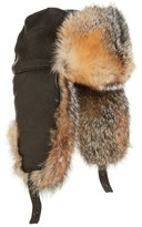 Crown Cap Men's Leather Trapper Hat With Genuine Fox Fur Lining - Black