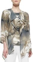 Caroline Rose Draped Watercolor Rose-Print Jacket