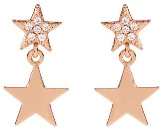Mint Velvet Rose Gold Pave Drop Earrings