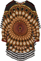 Givenchy Printed Ruffled Shirt In Multicolored Silk-georgette - Brown