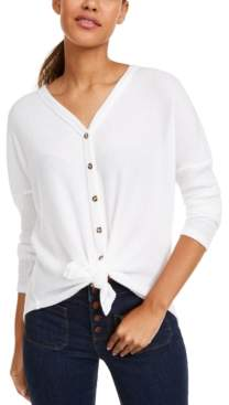 Ultra Flirt Juniors' Cozy Ribbed Tie-Front Top