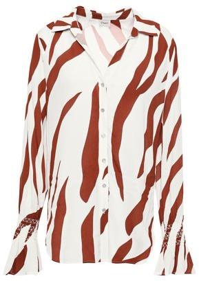 Charli Zebra-print Crepe De Chine Shirt