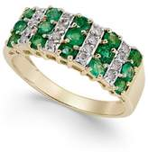 Macy's Emerald (1-1/5 ct. t.w.) and Diamond (1/5 ct. t.w.) Statement Ring in 14k White Gold