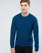 Farah Sweater With Rib In Slim Fit Blue