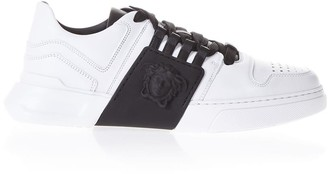 Versace Bicolor Laced Sneakers In Leather