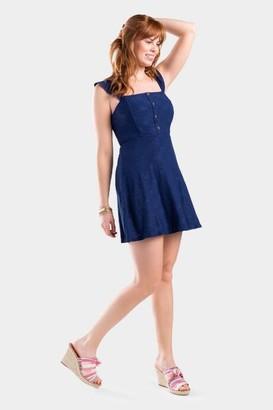 francesca's Brendah Eyelet Flounce Dress - Navy