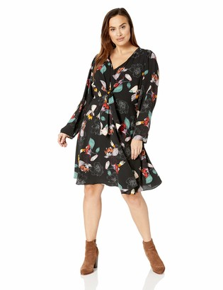 City Chic Women's Apparel Women's Plus Size Long Sleeved Print FIT and Flare Dress