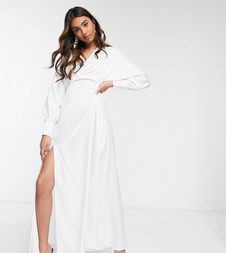 Flounce London exclusive batwing maxi dress in ivory