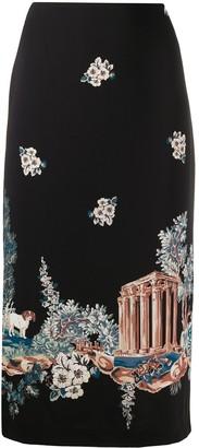 VIVETTA Floral-Scene High-Waisted Skirt