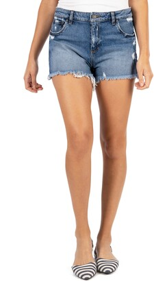 KUT from the Kloth Jane High Waist Distressed Fray Hem Cutoff Denim Shorts