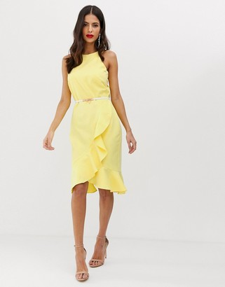 Paper Dolls belted halter neck frill midi dress-Yellow