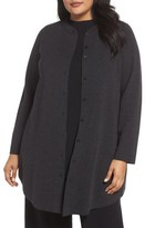 Eileen Fisher Plus Size Women's Mandarin Collar Merino Cardigan