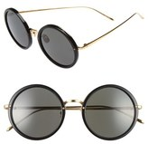 Linda Farrow 51mm Round 24 Karat Gold Trim Sunglasses