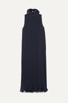 Tibi Ruffled Plisse-satin Midi Dress - Midnight blue