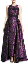 J. Mendel Sleeveless Open-Back Floral Jacquard Gown, Mulberry/Black