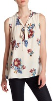 Blu Pepper Sleeveless Front Tie Floral Blouse