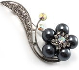Avalaya Oversized Stunning Flower Imitation Pearl Crystal Pin Brooch (Silver&Black)