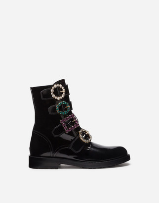 Dolce & Gabbana Polished Calfskin Combat Boots With Bejeweled Buckles