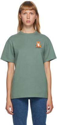 MAISON KITSUNÉ Green Lotus Fox T-Shirt