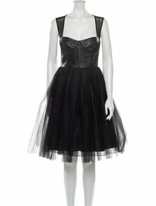 Alice + Olivia Leather Knee-Length Dress Black