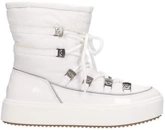 Chiara Ferragni Low Heels Ankle Boots In White Tech/synthetic